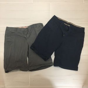 J. Crew set of 2 gray and navy Bermuda shorts